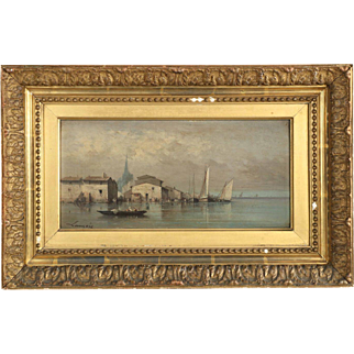 French Antique Coastal Painting of Ships in Harbor, 19th Century