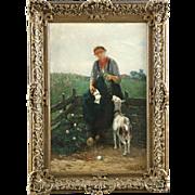 Dutch Barbizon Painting of Girl Feeding Goat by David de la Mar