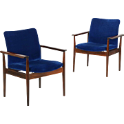 "Pair of Finn Juhl for John Stuart ""Diplomat"" Rosewood Arm Chairs, mid century modern"