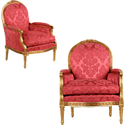 Pair of French Louis XVI Carved Giltwood Arm Chairs Bergeres