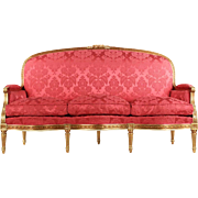 French Louis XVI Style Carved Giltwood Settee Canape Sofa