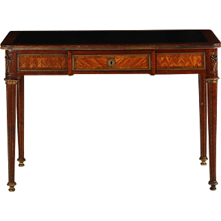 Vintage French Louis XVI Style Parquetry Leather Top Writing Desk