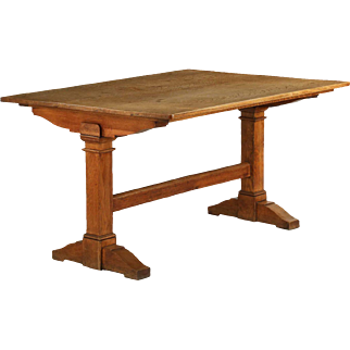 English Arts & Crafts Oak Library Table, 19th century