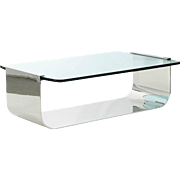 Modern Cantilever Chromed Steel Glass Cocktail Table