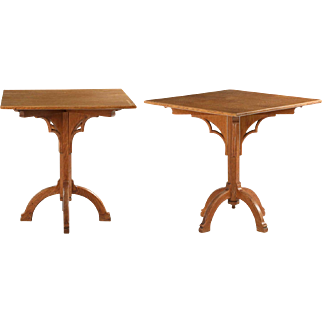 Pair of Arts & Crafts Antique End Tables in Gothic taste