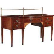 Antique English George III Serpentine Mahogany Sideboard, c. 1790