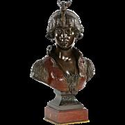 Fine Cold Painted Art Nouveau Bronze Bust by Cesare Ceribelli