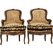 French Louis XV Pair of Carved Fruitwood Bergeres, 19th century
