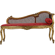 19th Century French Rococo Giltwood Antique Settee Recamier Sofa