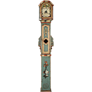 Northern European Painted Antique Tall Case Clock, 19th Century