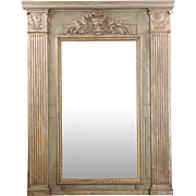 French Neoclassical Period Carved, Painted Wall Mirror