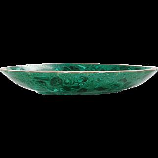 Green Malachite and Bronze Decorative Bowl