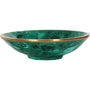 Vintage Natural Malachite and Bronze Bowl, 20th century