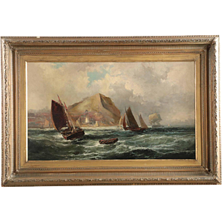 19th Century British Painting of Ships along Coast by Robert Ernest Roe c. 1884