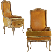 Pair of Carved Hollywood Regency Arm Chairs, 20th century