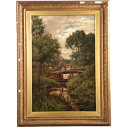 Clarence Edward Roe Landscape Painting of Bridges over Stream with Cows, 19th Century
