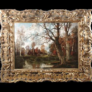 Austrian Barbizon Painting by Adolf Kaufmann of Peasants on Forest Path