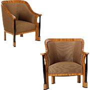 Pair of Ebonized Biedermeier Tub Arm Chairs, Circa 1825