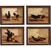 Set of Four Barbizon Cock Fighting Paintings by William Baird