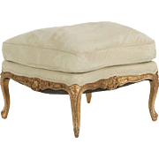 French Louis XV Style Carved Giltwood Antique Footstool, 19th Century