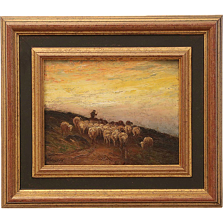 American Barbizon Painting of Sheep at Evening by Francis Wheaton