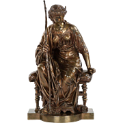 "Fine French Antique Bronze Sculpture of ""Seated Artemis"" by Etienne-Henri Dumaige"