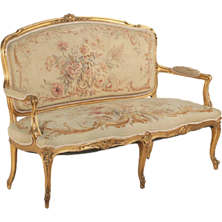 French Louis XV Style Carved Giltwood Antique Settee Sofa, circa 1900