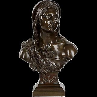 "French Antique Bronze Sculpture ""Bust of Daphnis"" by Etienne-Henri Dumaige"