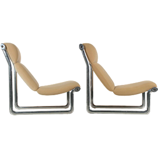 Pair of Vintage Hannah Morrison for Knoll Sling Arm Chairs in polished aluminum