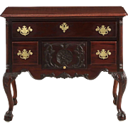American Chippendale Style Mahogany Antique Lowboy Chest of Drawers, 19th Century