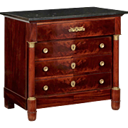 19th Century Empire Style Mahogany Antique Commode Chest of Drawers