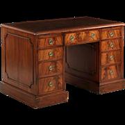 19th Century Georgian Antique Pedestal Desk w/ Leather Top c. 1890