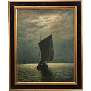 James G. Tyler American Painting of Ships Fishing under Moonlight, Signed
