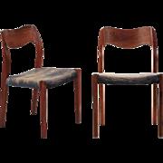 Pair of Niels Møller Danish Mid Century Modern Rosewood Side Chairs, Model 71