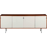 Florence Knoll Mid Century Walnut Credenza Cabinet circa 1960s