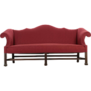 American Chippendale Style Mahogany Camel Back Sofa, 20th Century