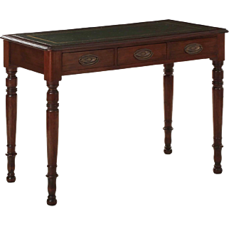Regency Style Antique Writing Table w/ Green Leather Top, 19th century