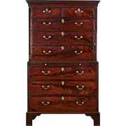 George III Period Mahogany Highboy Chest on Chest of Drawers, England circa 1780