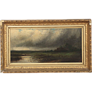 Barbizon School (19th Century) Antique Landscape Painting of Storm over Marsh
