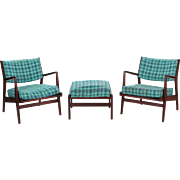 Pair of Mid Century Modern Walnut Arm Chairs with Ottoman by Jens Risom