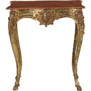 Continental Rococo Giltwood Antique Side Table, 19th Century