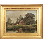 Henry Pember Smith (American, 1854-1907) Landscape Painting of Cottage by Lake