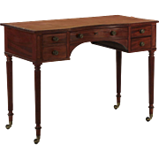 English Regency Period Mahogany and Leather Antique Writing Table Desk, 19th Century