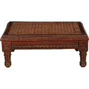 French Louis XVI Style Antique Carved Beechwood Footstool, 19th Century