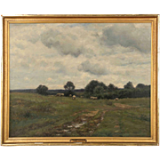 Barbizon School Landscape Painting of Sheep at Pasture by William Norton