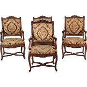 Set of Four Rococo Revival Carved Walnut Antique Arm Chairs, 19th Century