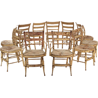 """11 American Sheraton """"Fancy"""" Painted Dining Chairs, New York c. 1815-30"""