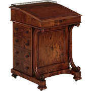 English Walnut and Leather Antique Davenport Desk, 19th Century