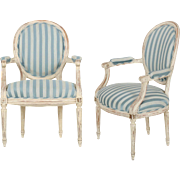 Vintage Pair of French Louis XVI Style Distressed White Painted Arm Chairs, 20th Century