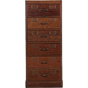 Vintage Oak Library Index Card Catalog Filing Cabinet, 20th Century